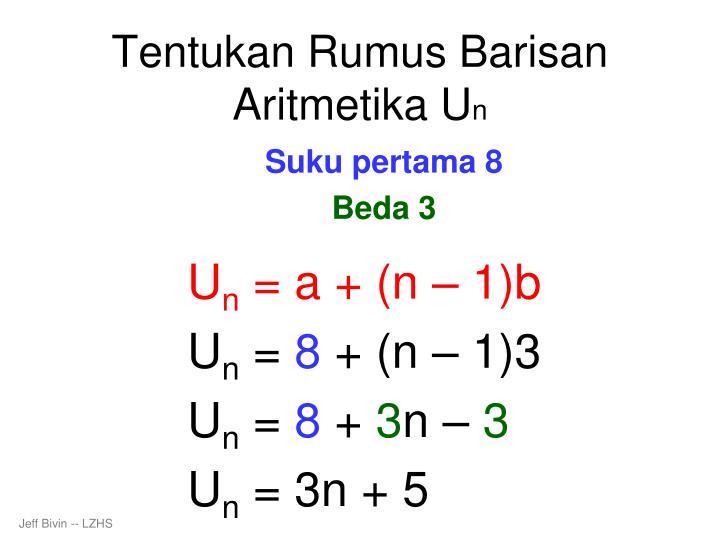 Tentukan Rumus Barisan Aritmetika U
