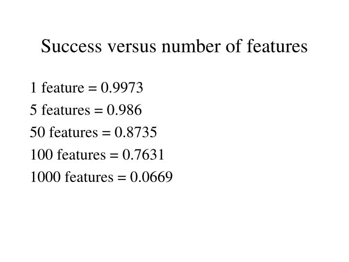 Success versus number of features
