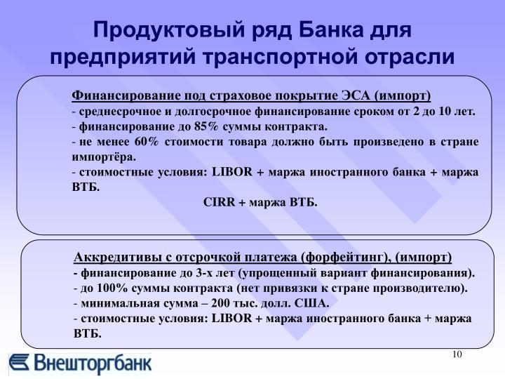 Продуктовый ряд Банка для предприятий транспортной отрасли