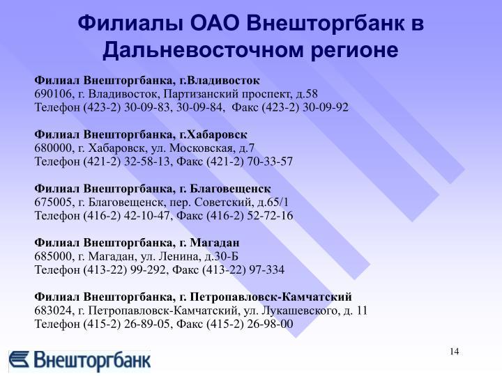 Филиал Внешторгбанка, г.Владивосток