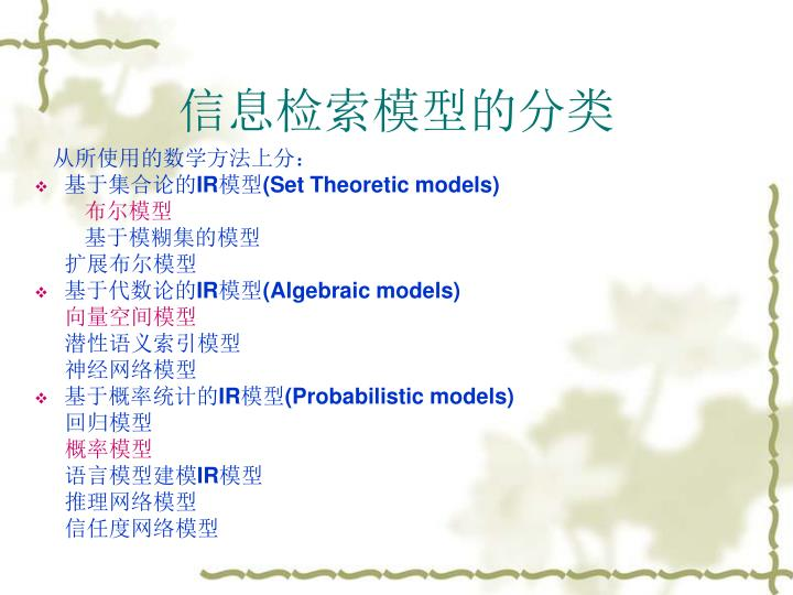 信息检索模型的分类
