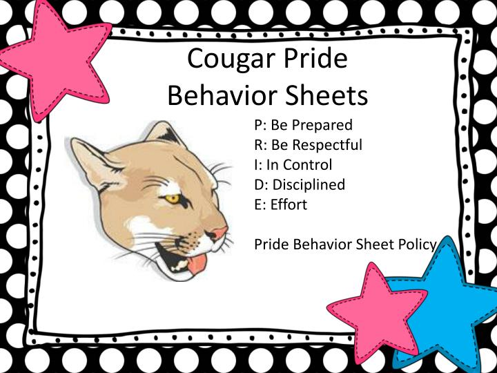 Cougar Pride Behavior Sheets