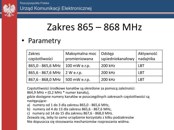 Zakres 865 – 868