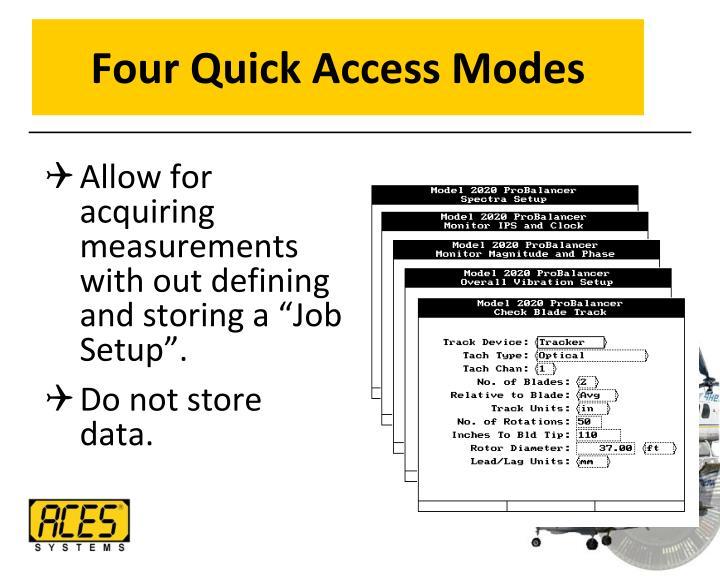 Four Quick Access Modes