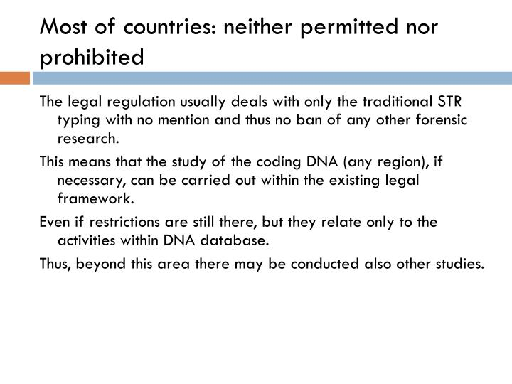 Most of countries: neither permitted nor prohibited