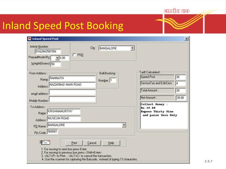 Inland Speed Post Booking