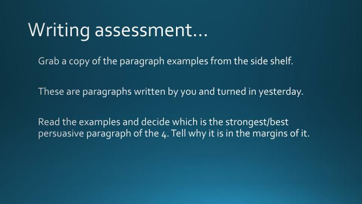 Writing assessment…