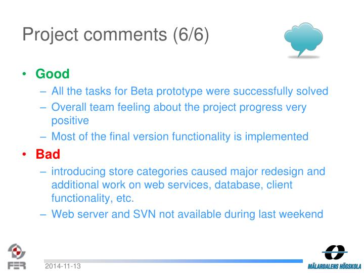 Project comments (6/6)