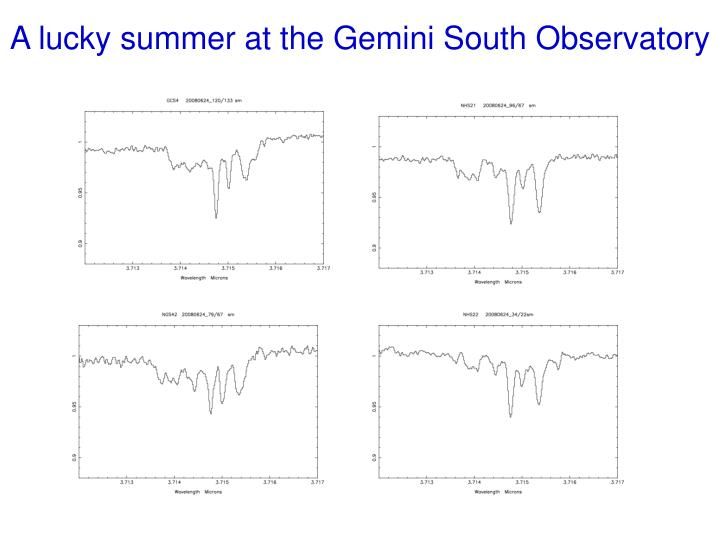 A lucky summer at the Gemini South Observatory