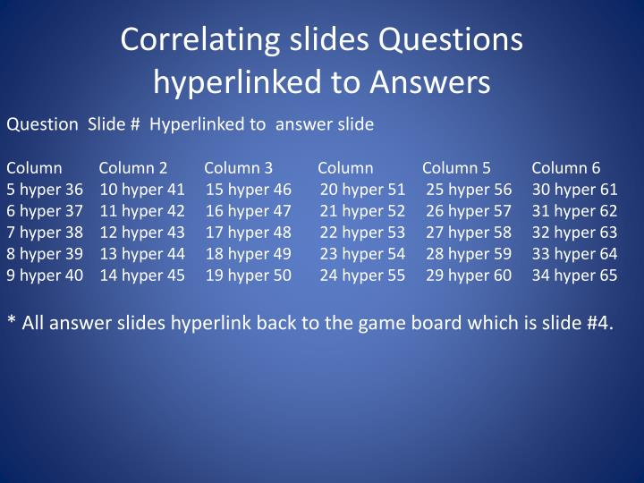 Correlating slides Questions hyperlinked to Answers