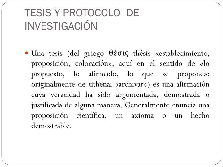 TESIS Y PROTOCOLO  DE INVESTIGACIÓN