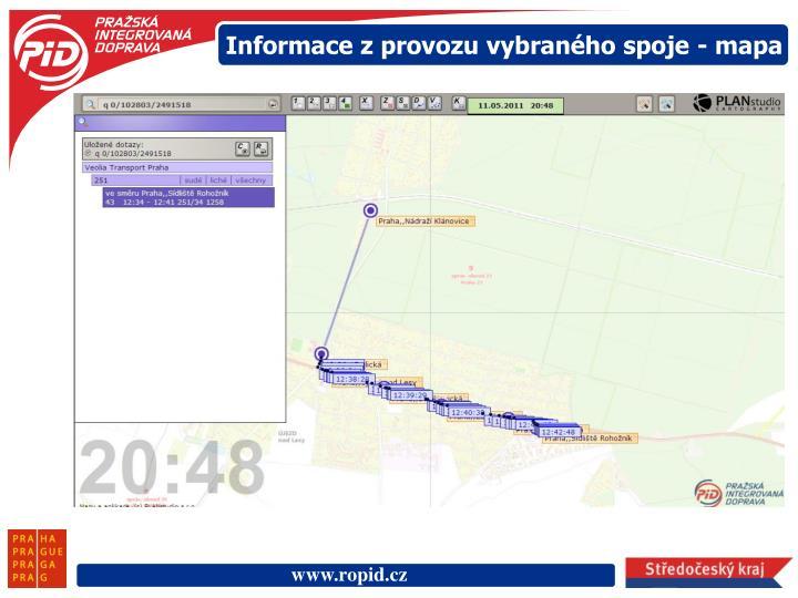 Informace z provozu vybraného spoje - mapa