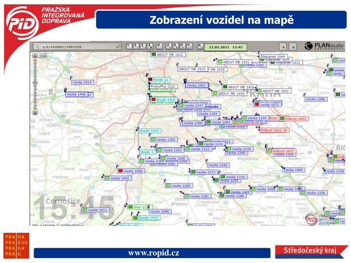 Zobrazení vozidel na mapě