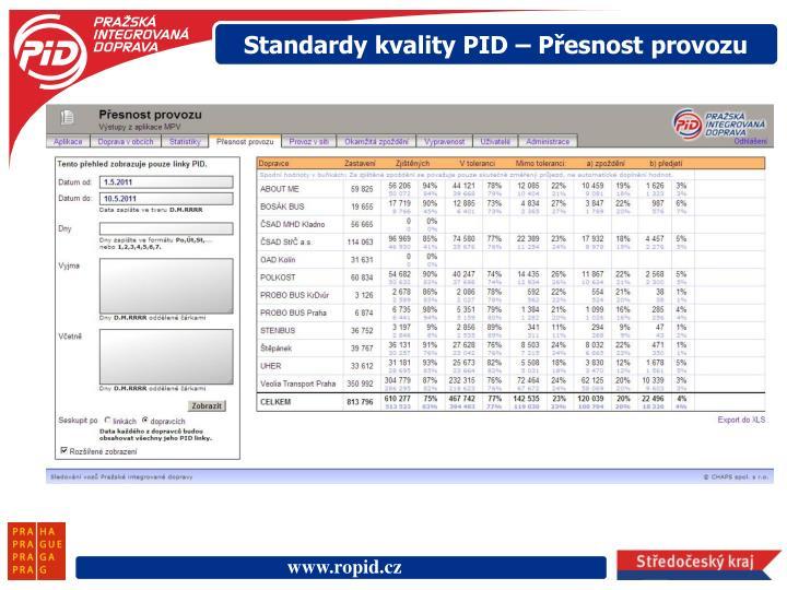 Standardy kvality PID – Přesnost provozu
