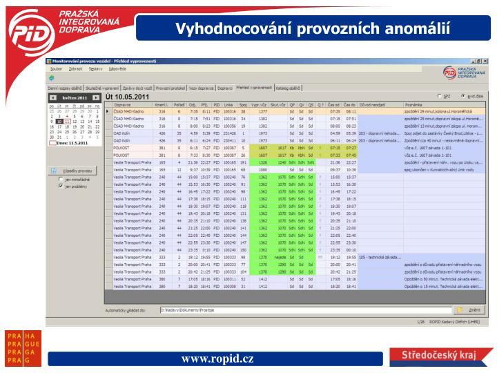 Vyhodnocování provozních anomálií