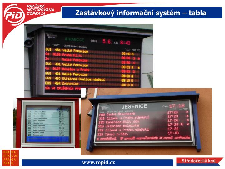 Zastávkový informační systém – tabla