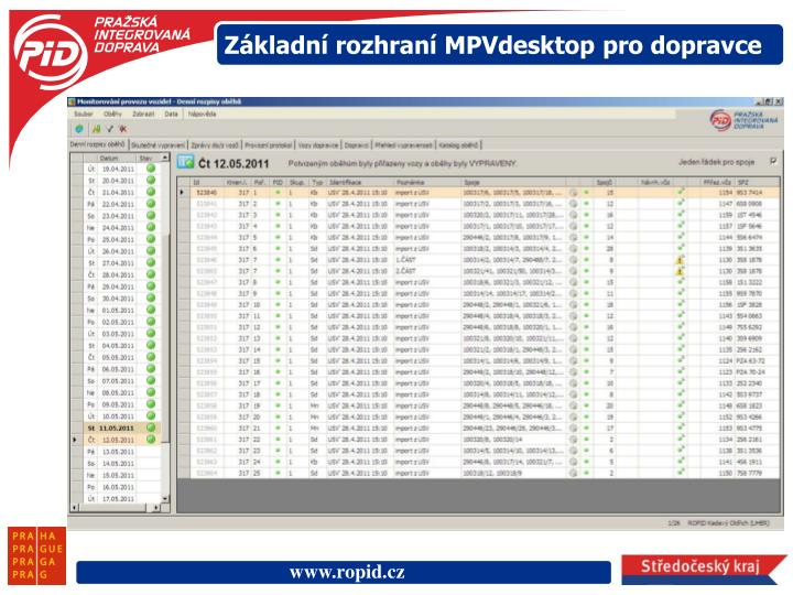 Základní rozhraní MPVdesktop pro dopravce