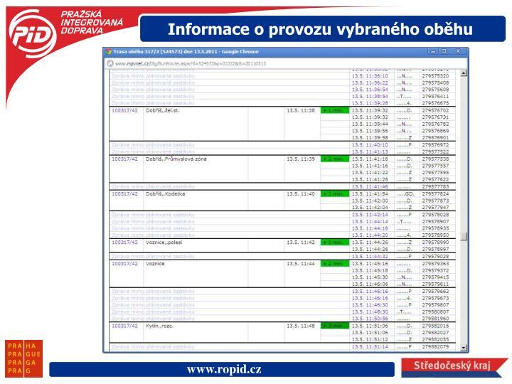 Informace o provozu vybraného oběhu