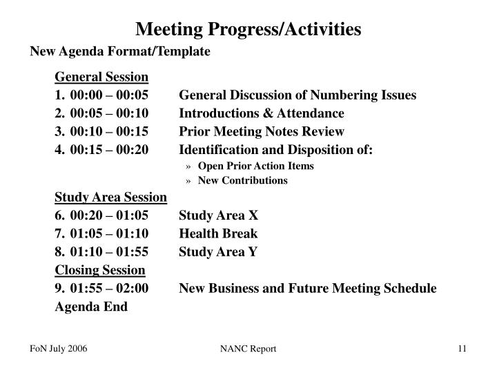 Meeting Progress/Activities