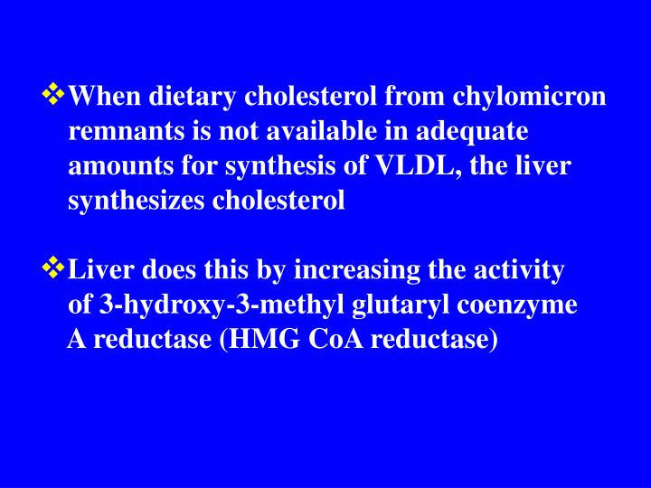 When dietary cholesterol from chylomicron