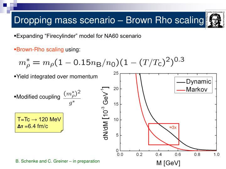 Dropping mass scenario – Brown Rho scaling