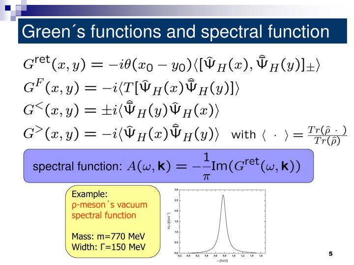 Green´s functions and spectral function