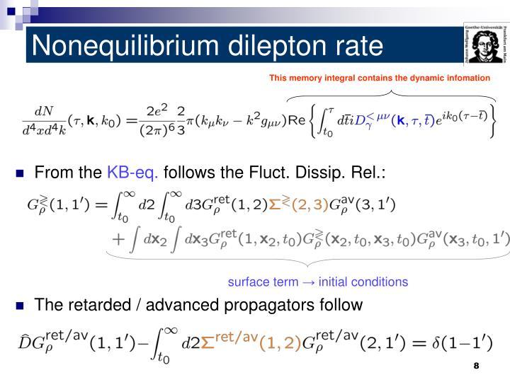 Nonequilibrium dilepton rate