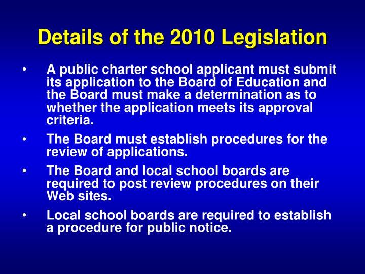 Details of the 2010 Legislation