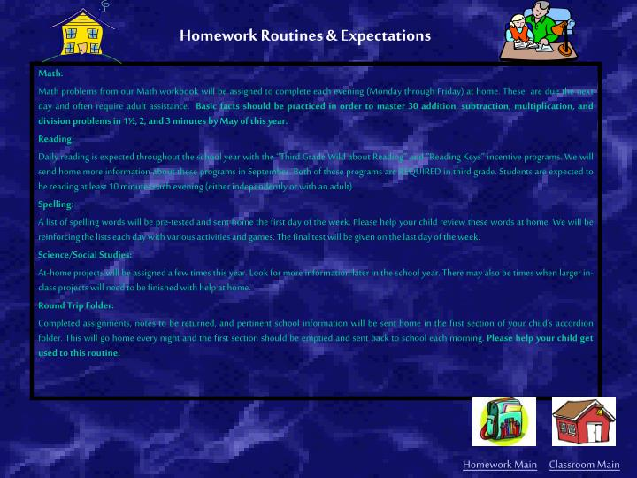 Homework Routines & Expectations