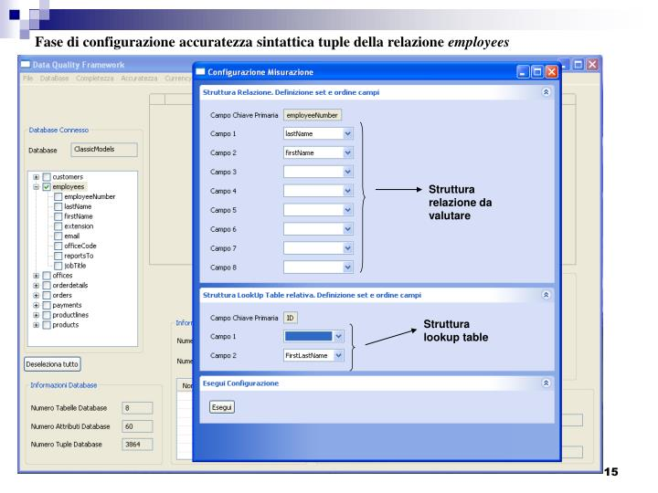 Fase di configurazione accuratezza sintattica tuple della relazione