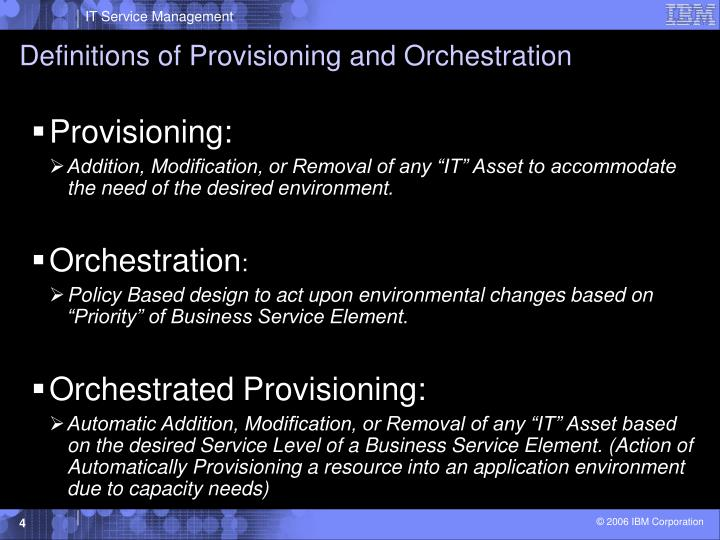 Definitions of Provisioning and Orchestration