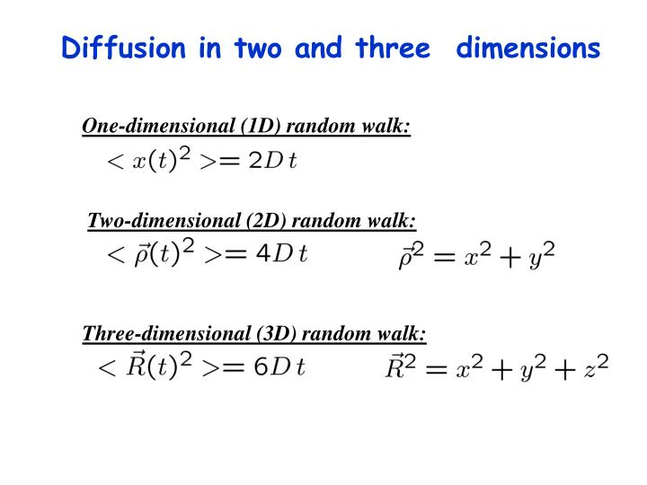 Diffusion in two and three  dimensions