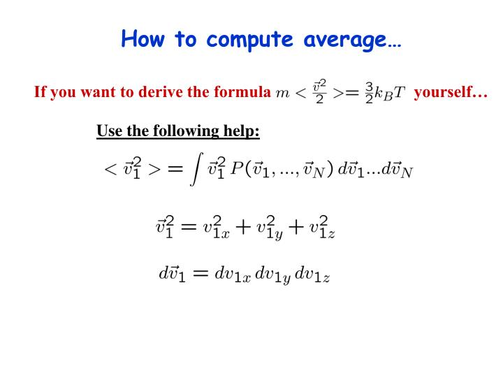 How to compute average…