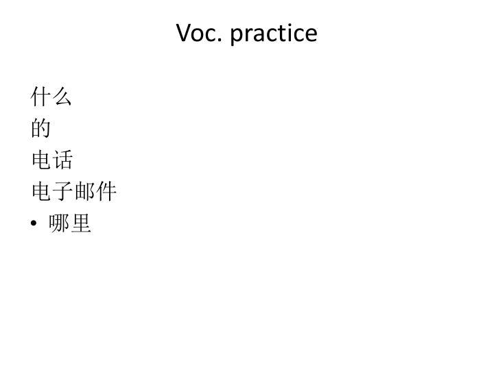 Voc. practice