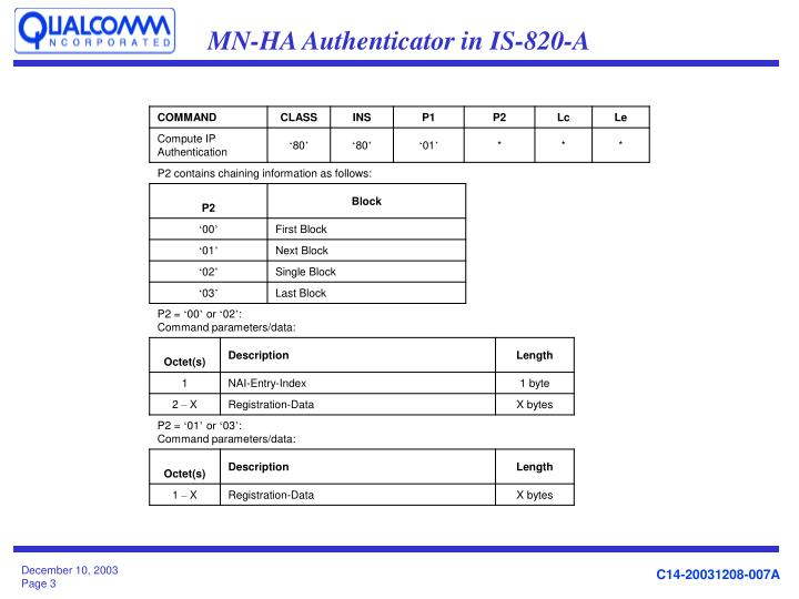 MN-HA Authenticator in IS-820-A