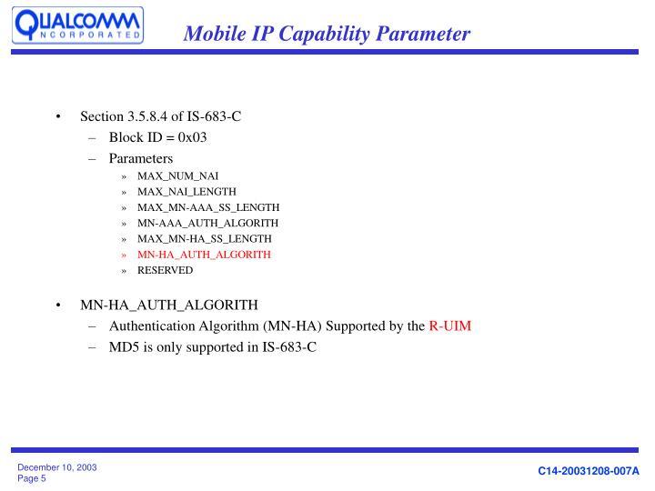 Mobile IP Capability Parameter