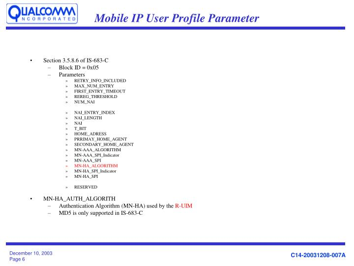 Mobile IP User Profile Parameter
