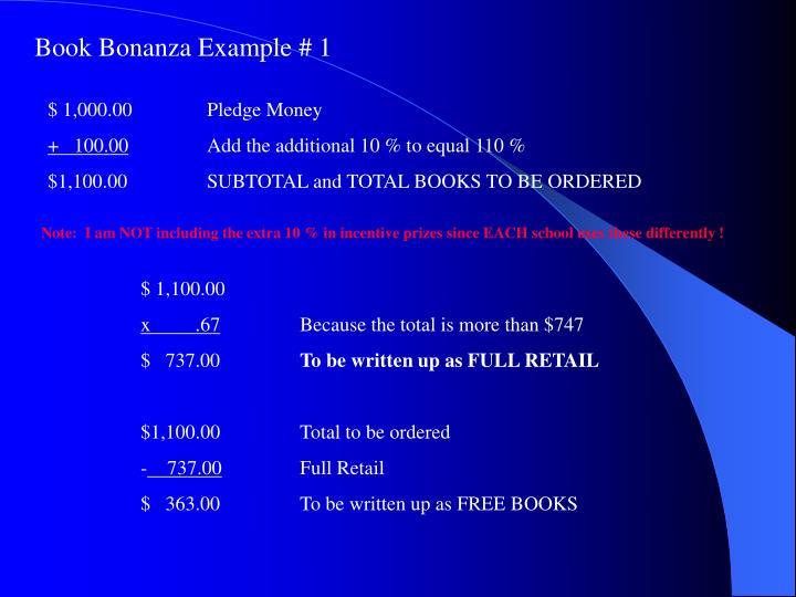 Book Bonanza Example # 1