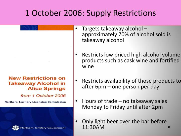 1 October 2006: Supply Restrictions