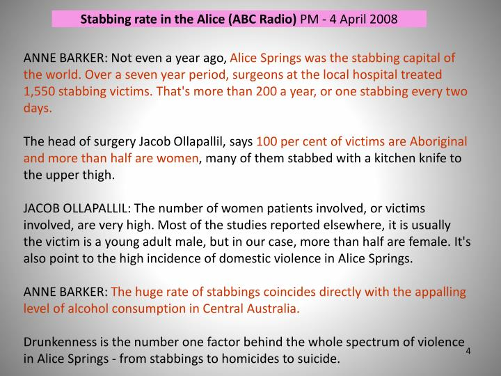 Stabbing rate in the Alice (ABC Radio)