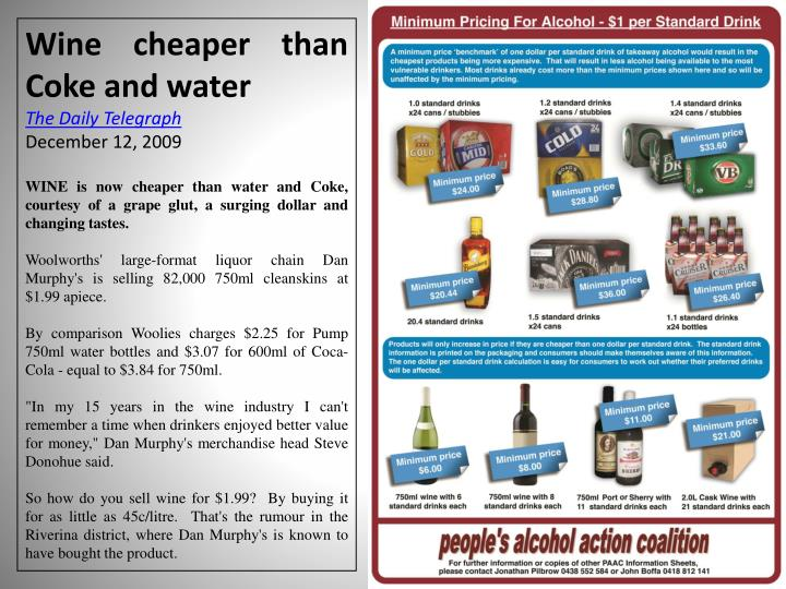 Wine cheaper than Coke and water