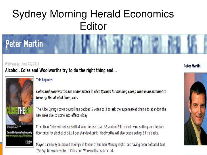 Sydney Morning Herald Economics Editor