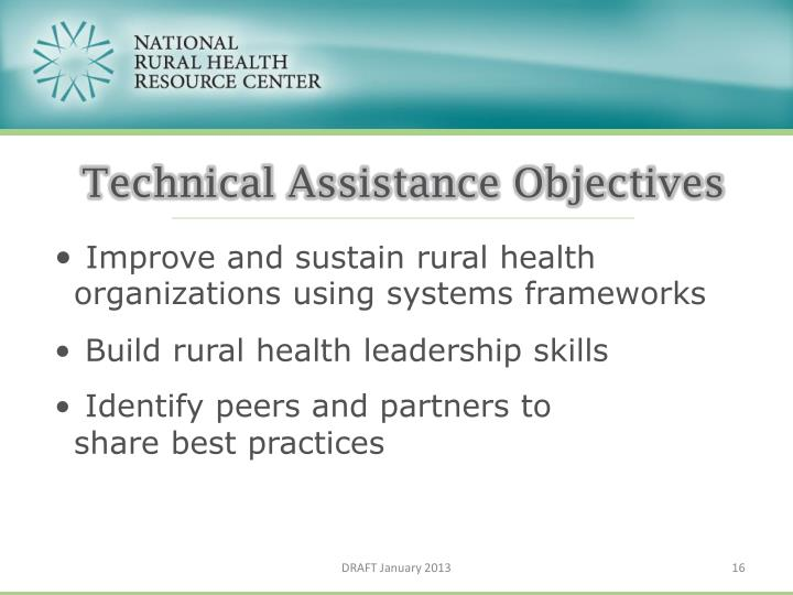 Technical Assistance Objectives