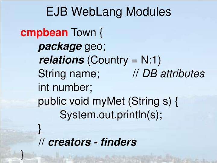 EJB WebLang Modules