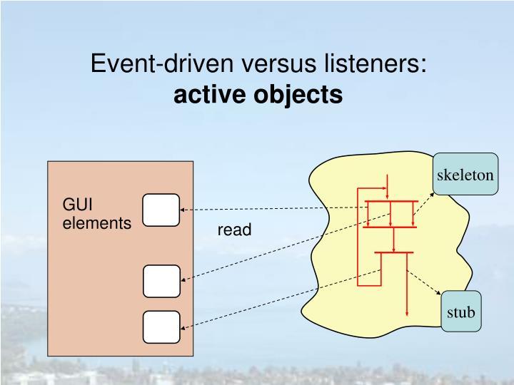Event-driven versus listeners: