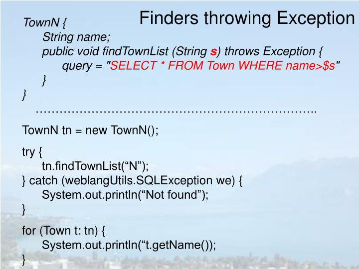 Finders throwing Exception