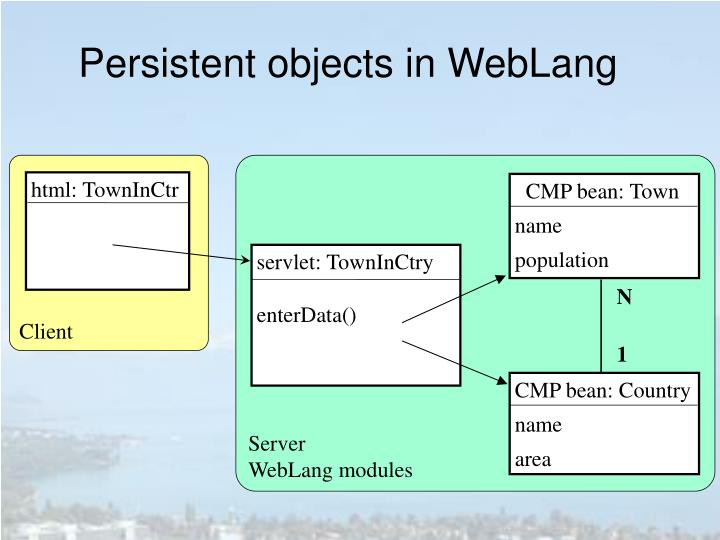 Persistent objects in WebLang
