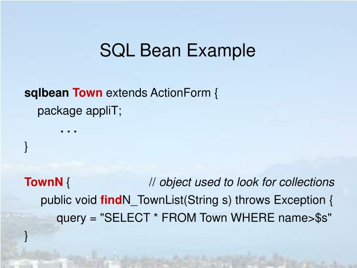SQL Bean Example