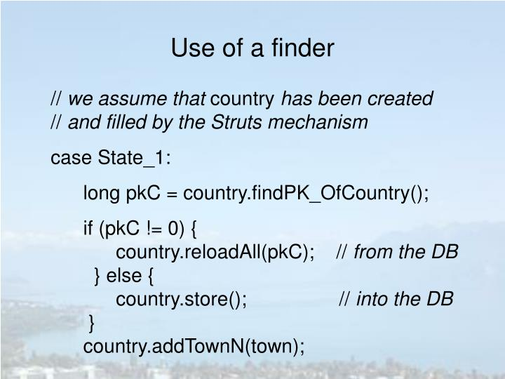 Use of a finder