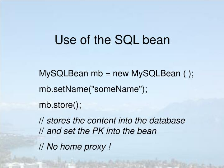 Use of the SQL bean